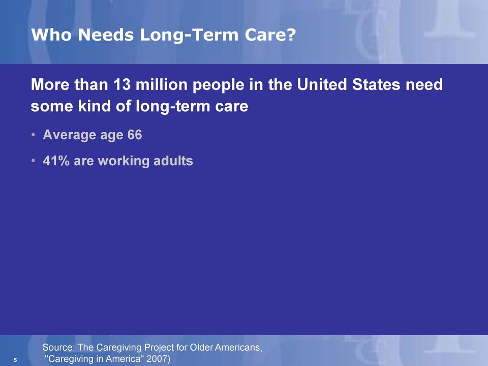 some kind of long-term care Average age 66 41% are