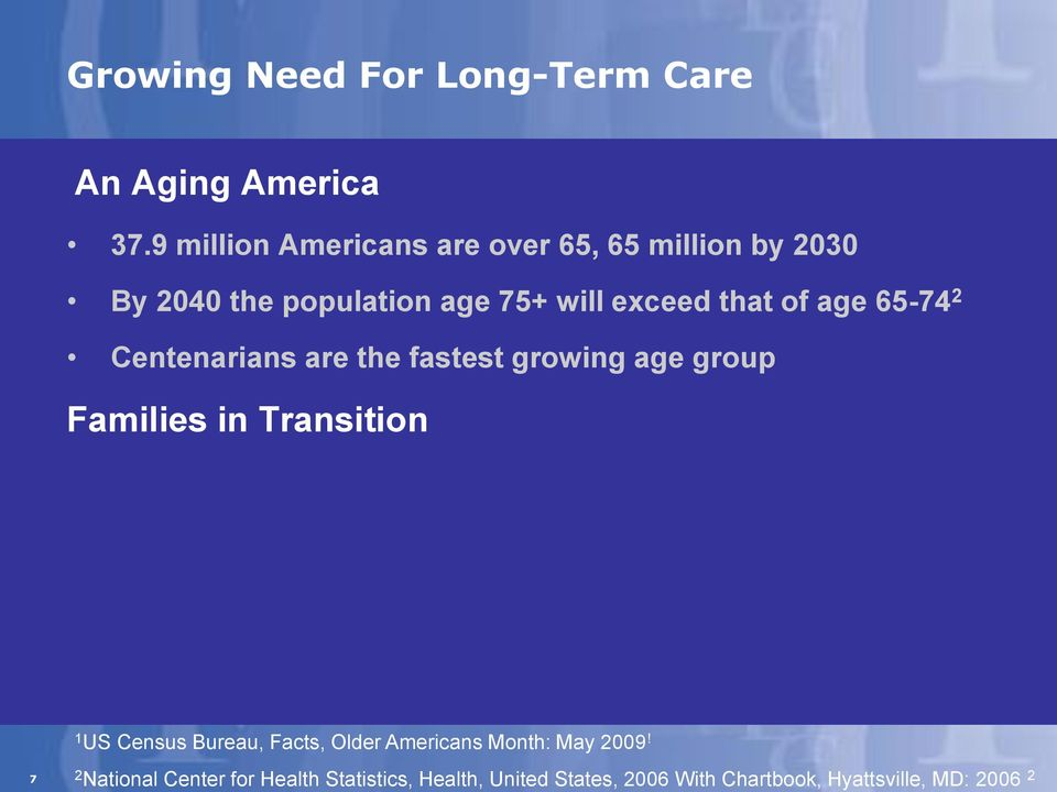 of age 65-74 2 Centenarians are the fastest growing age group Families in Transition 1 US Census