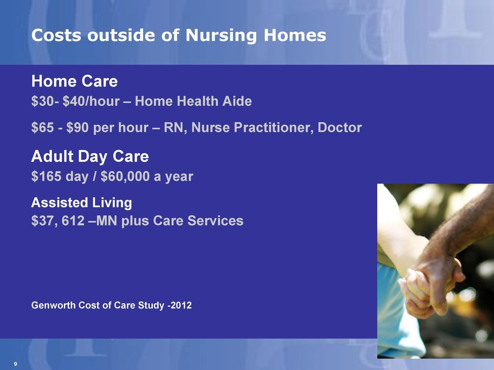 Adult Day Care $165 day / $60,000 a year Assisted Living $37,