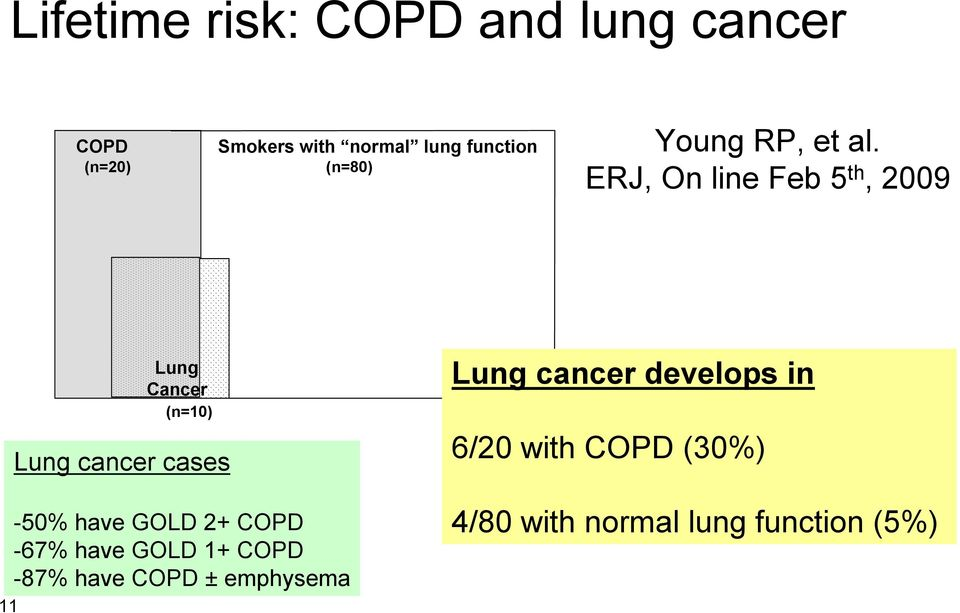 ERJ, On line Feb 5 th, 2009 11 Lung Cancer (n=10) Lung cancer cases -50% have