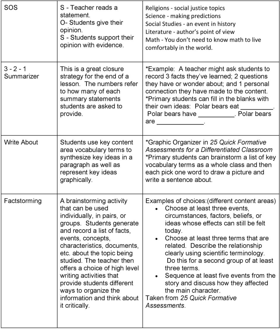 world. 3-2 - 1 Summarizer This is a great closure strategy for the end of a lesson. The numbers refer to how many of each summary statements students are asked to provide.