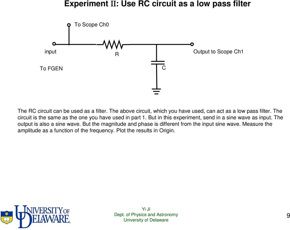 The circui is he same as he one you have used in par 1. Bu in his experimen, send in a sine wave as inpu.