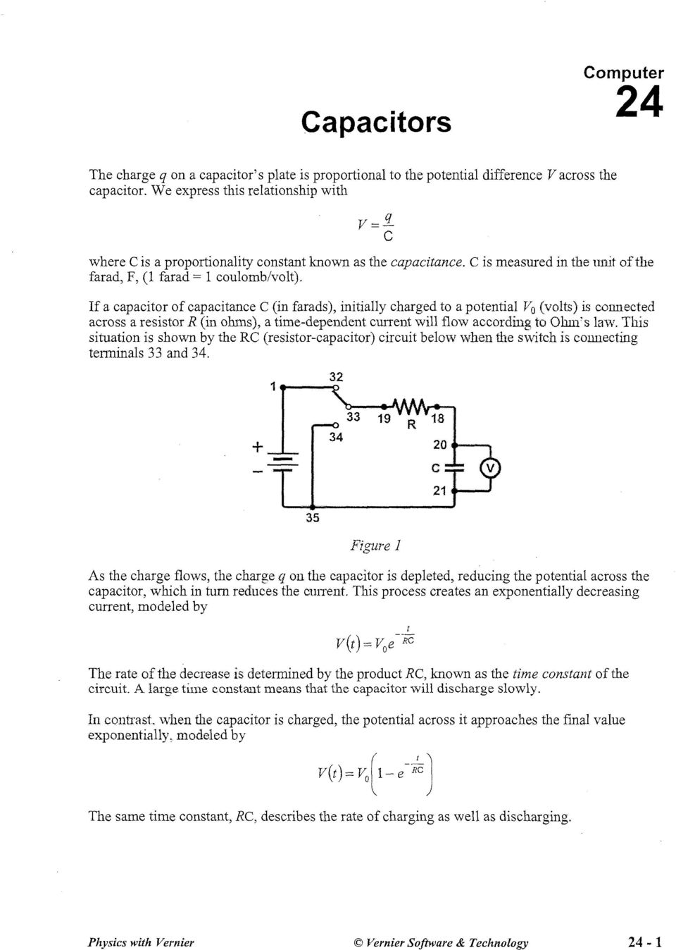 Capacitors Vf Figure 1 Pdf The Circuit Below Along With Current Flowing And Potential If A Capacitor Of Capacitance C In Farads Initially Charged To