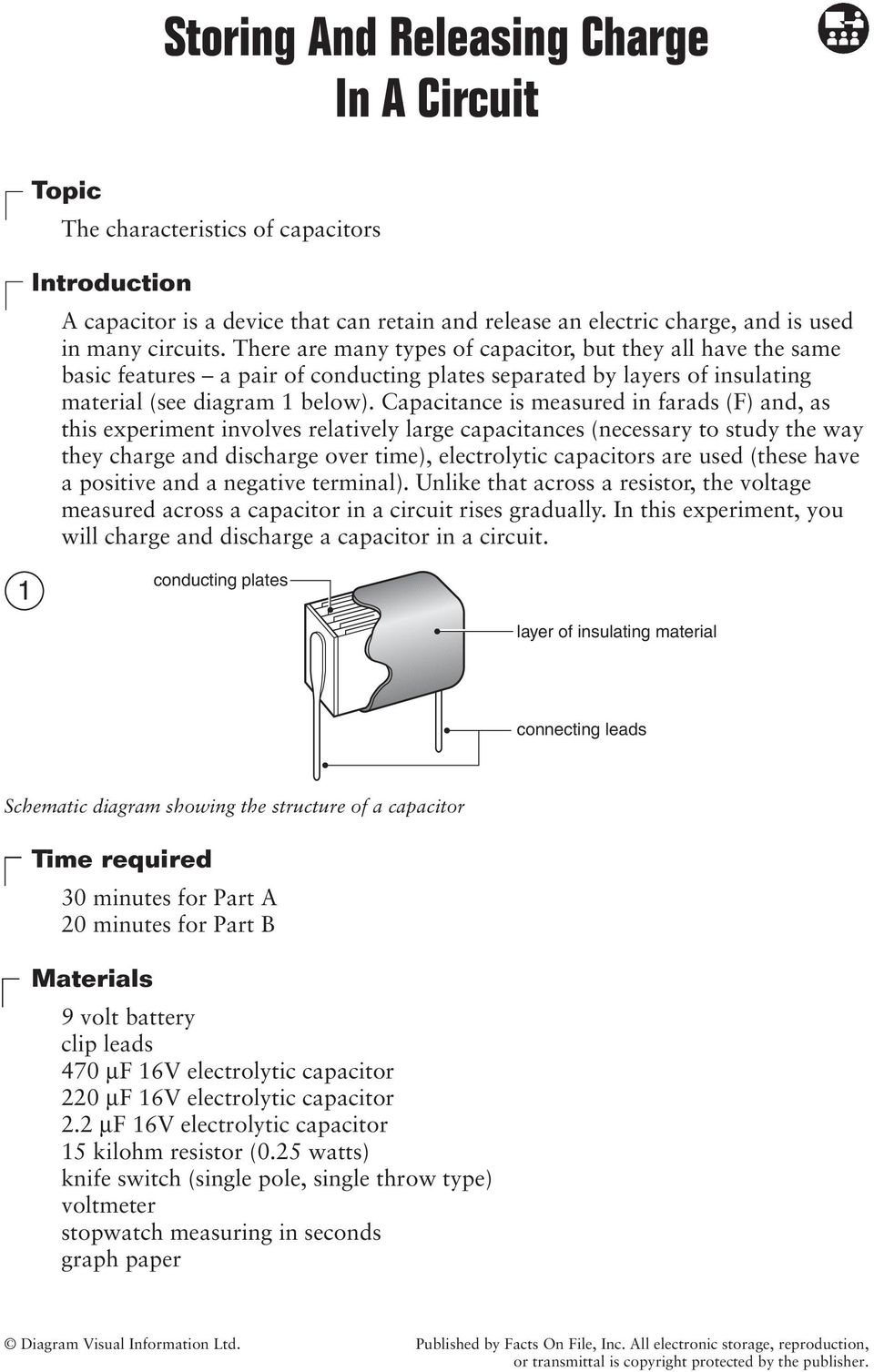 Capacitance is measured in farads (F) and, as this experiment involves relatively large capacitances (necessary to study the way they charge and discharge over time), electrolytic capacitors are used