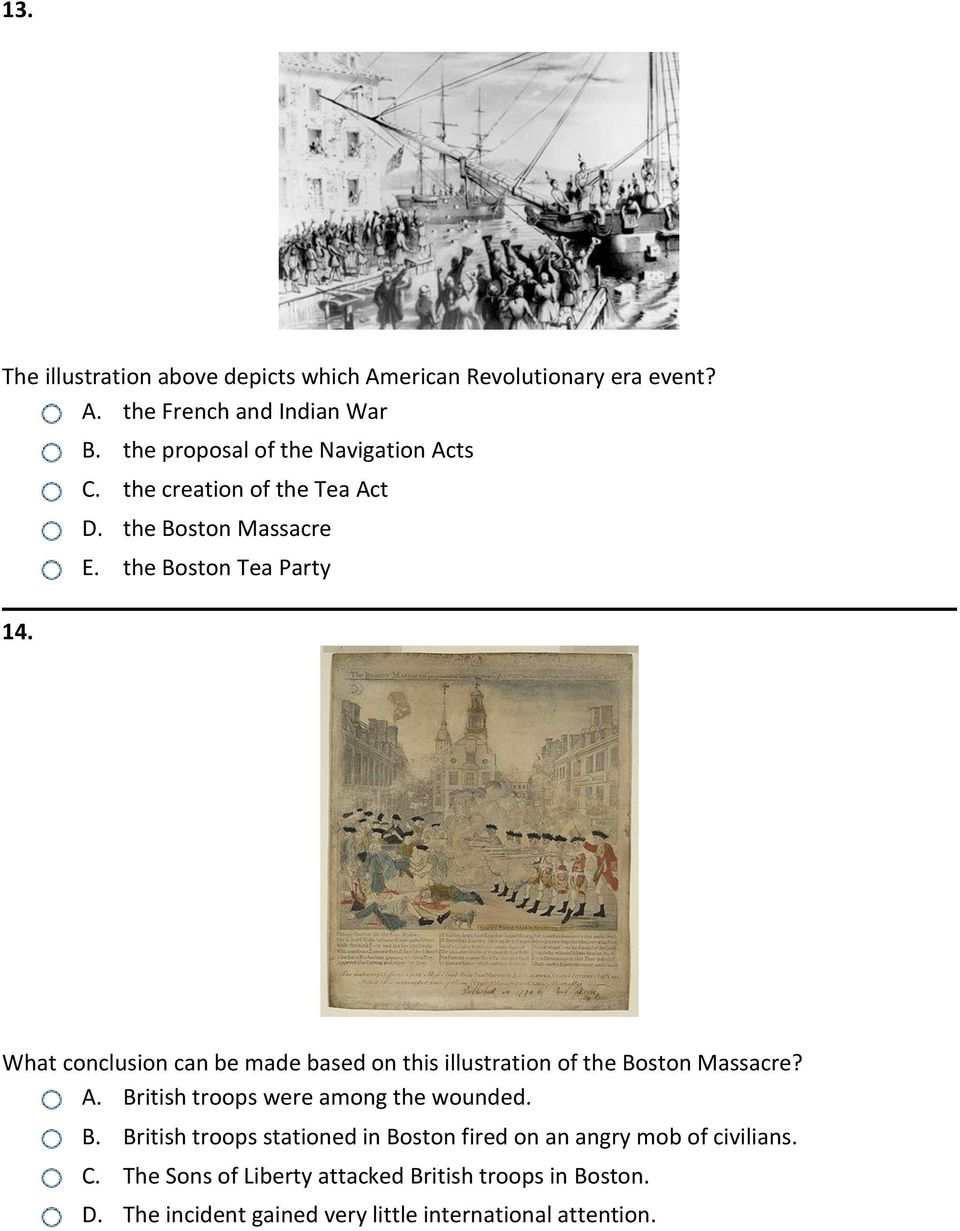 the Boston Tea Party What conclusion can be made based on this illustration of the Boston Massacre? A.