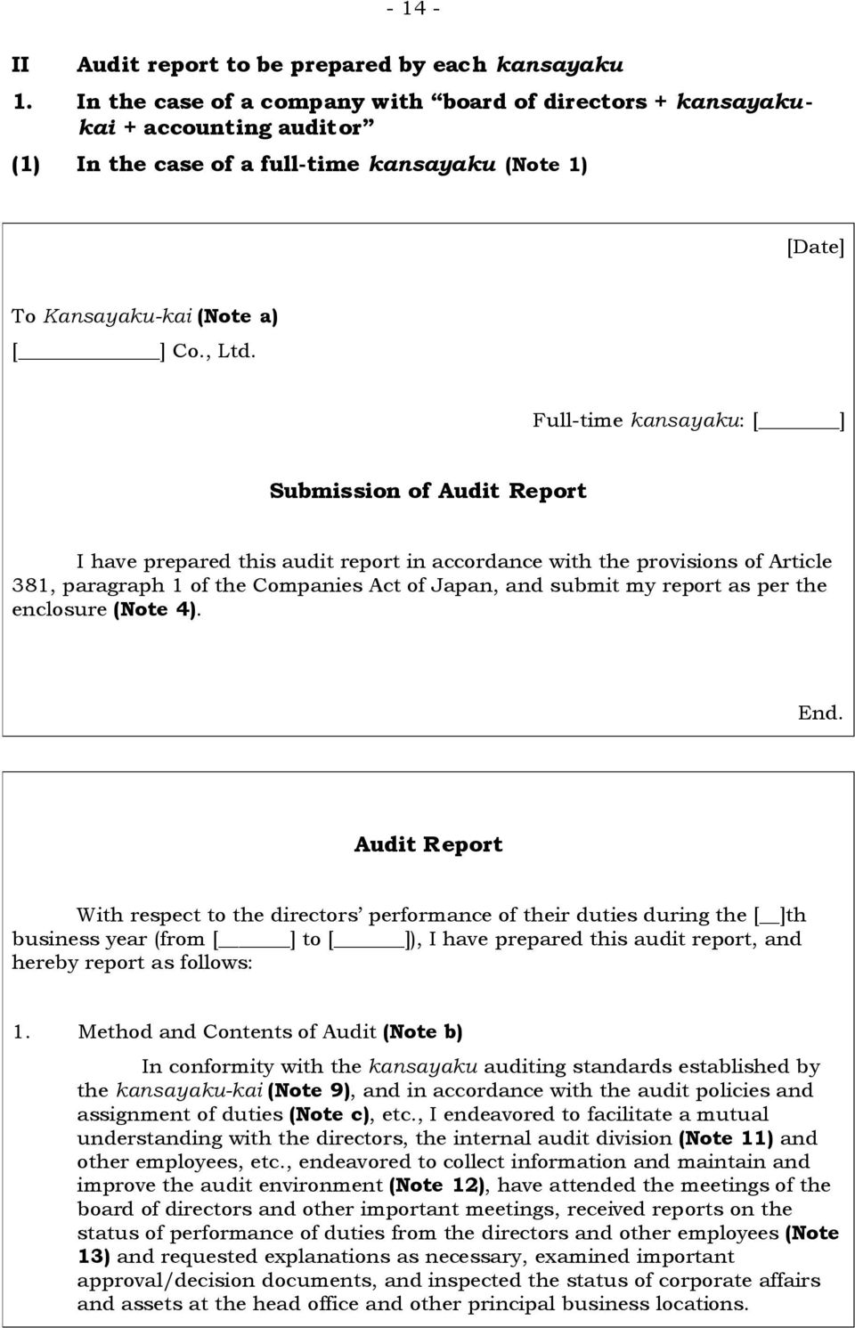 Full-time kansayaku: [ ] Submission of Audit Report I have prepared this audit report in accordance with the provisions of Article 381, paragraph 1 of the Companies Act of Japan, and submit my report