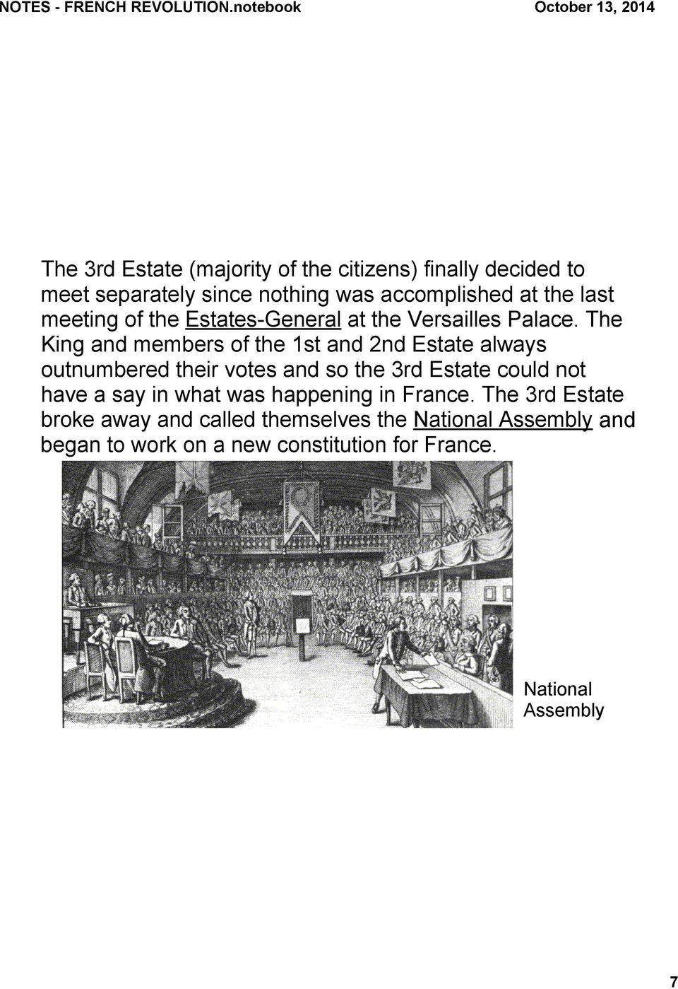 The King and members of the 1st and 2nd Estate always outnumbered their votes and so the 3rd Estate could not have a