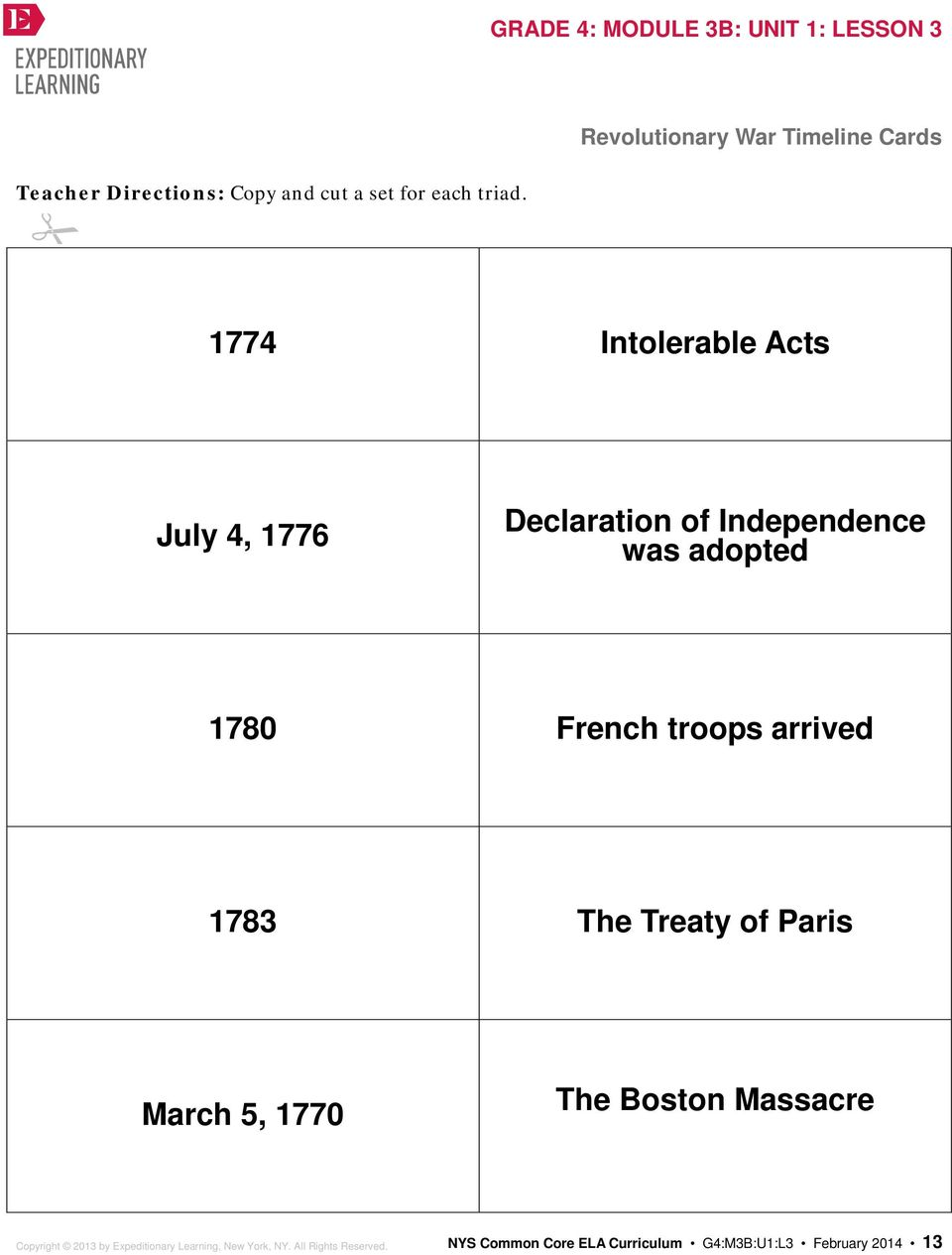 was adopted 1780 French troops arrived 1783 The Treaty of Paris March 5, 1770 The Boston