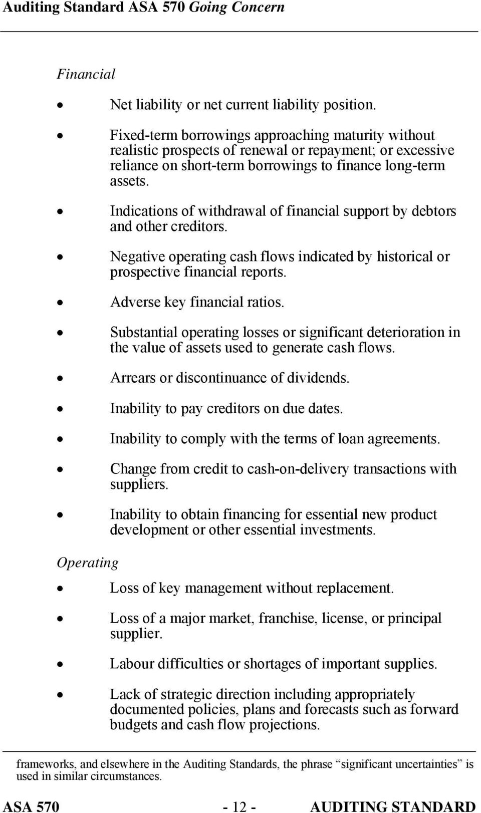 Indications of withdrawal of financial support by debtors and other creditors. Negative operating cash flows indicated by historical or prospective financial reports. Adverse key financial ratios.