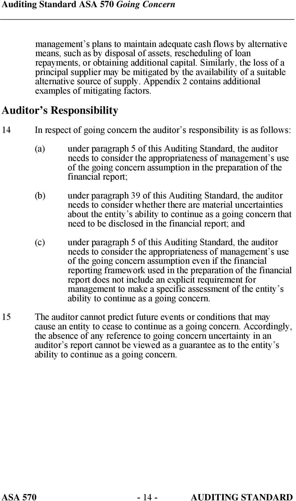 Auditor s Responsibility 14 In respect of going concern the auditor s responsibility is as follows: (c) under paragraph 5 of this Auditing Standard, the auditor needs to consider the appropriateness