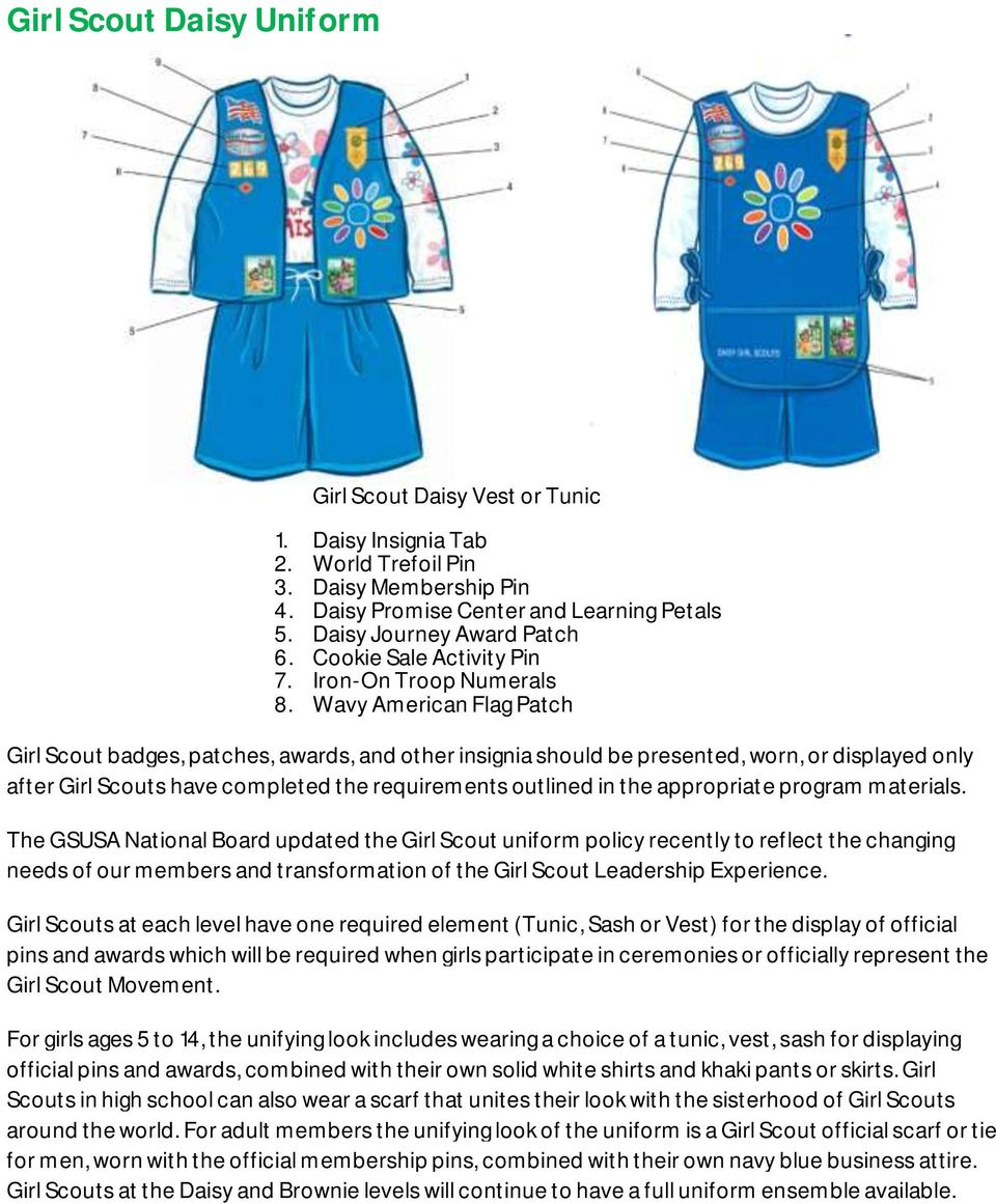 Wavy American Flag Patch Girl Scout badges, patches, awards, and other insignia should be presented, worn, or displayed only after Girl Scouts have completed the requirements outlined in the
