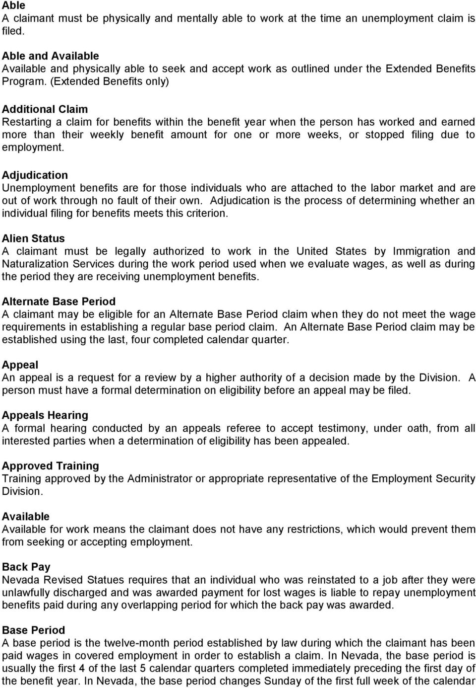 Glossary Of Unemployment Insurance Terms Pdf
