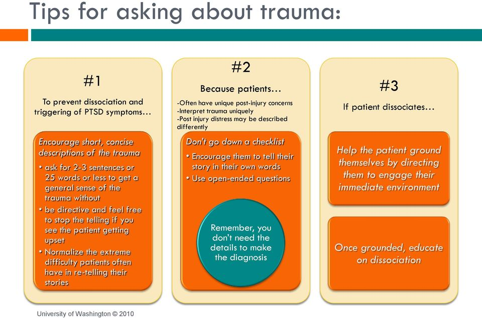 -Interpret trauma uniquely -Post injury distress may be described differently