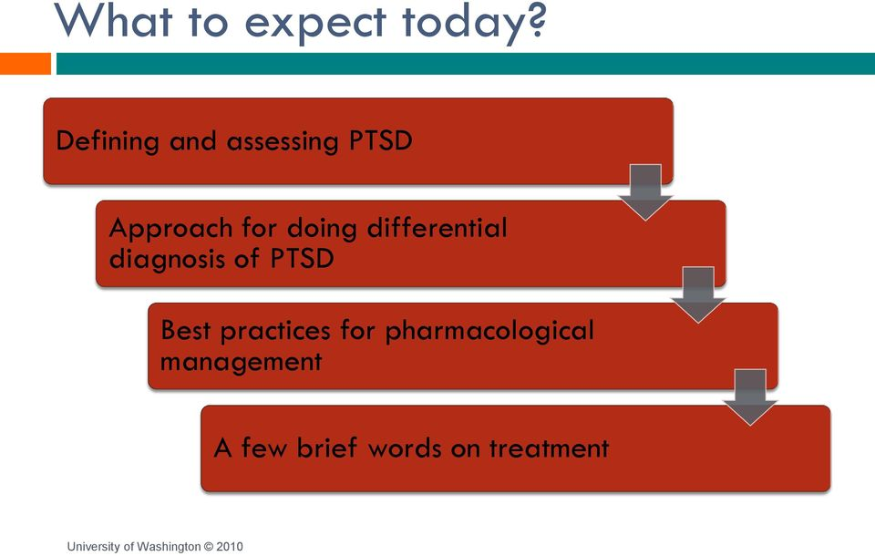 doing differential diagnosis of PTSD Best