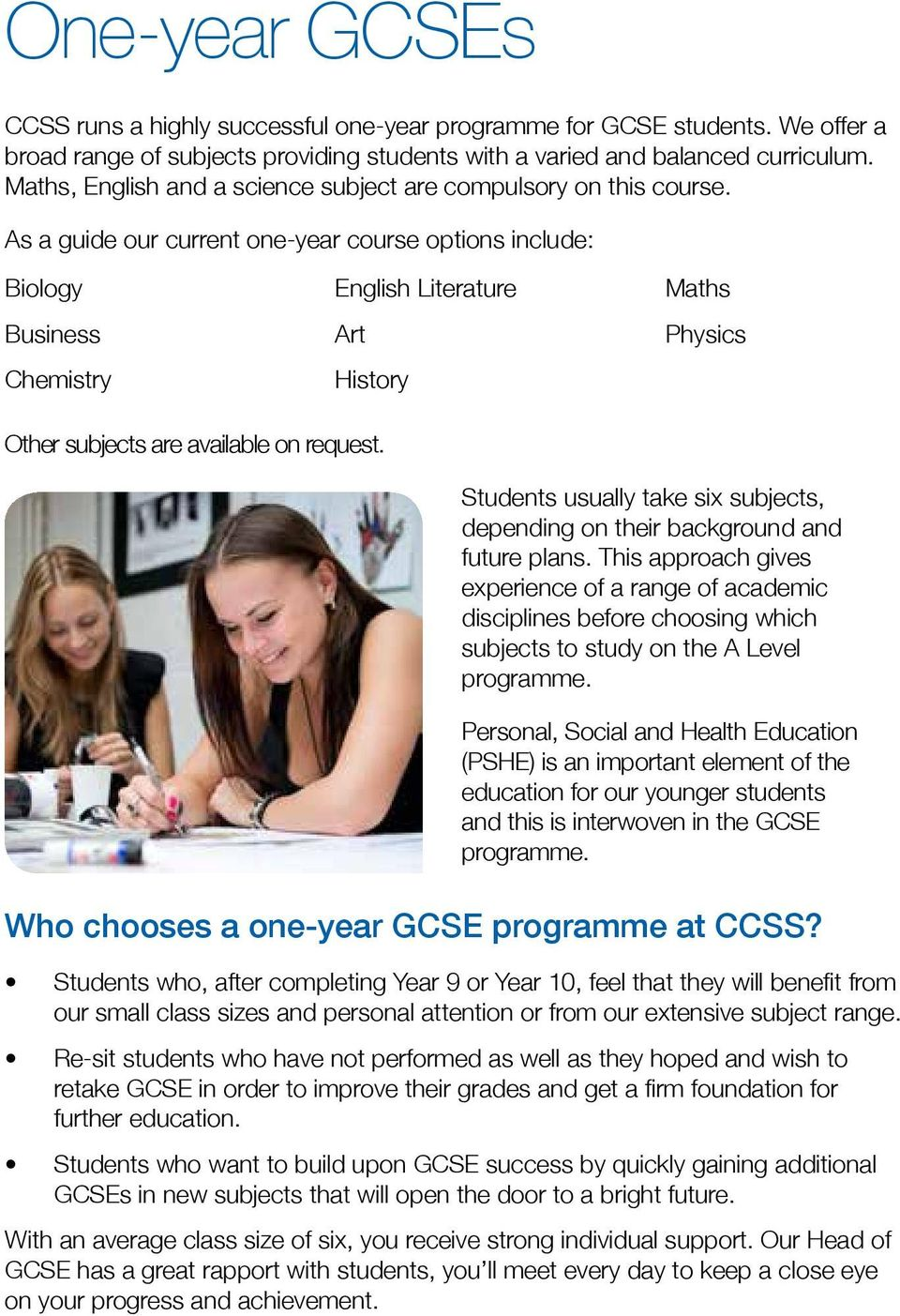 As a guide our current one-year course options include: Biology Business Chemistry English Literature Art History Maths Physics Other subjects are available on request.