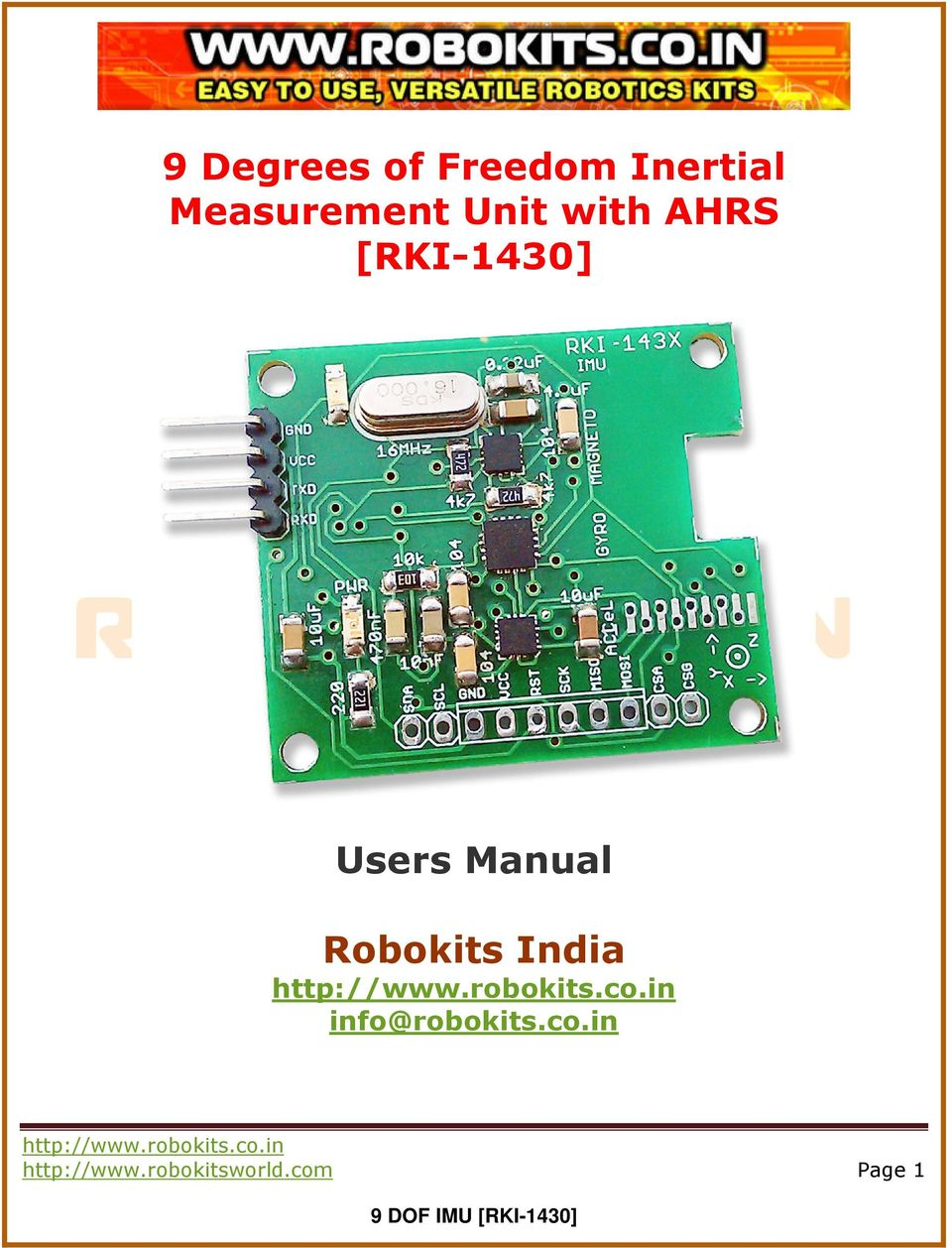 Users Manual Robokits India