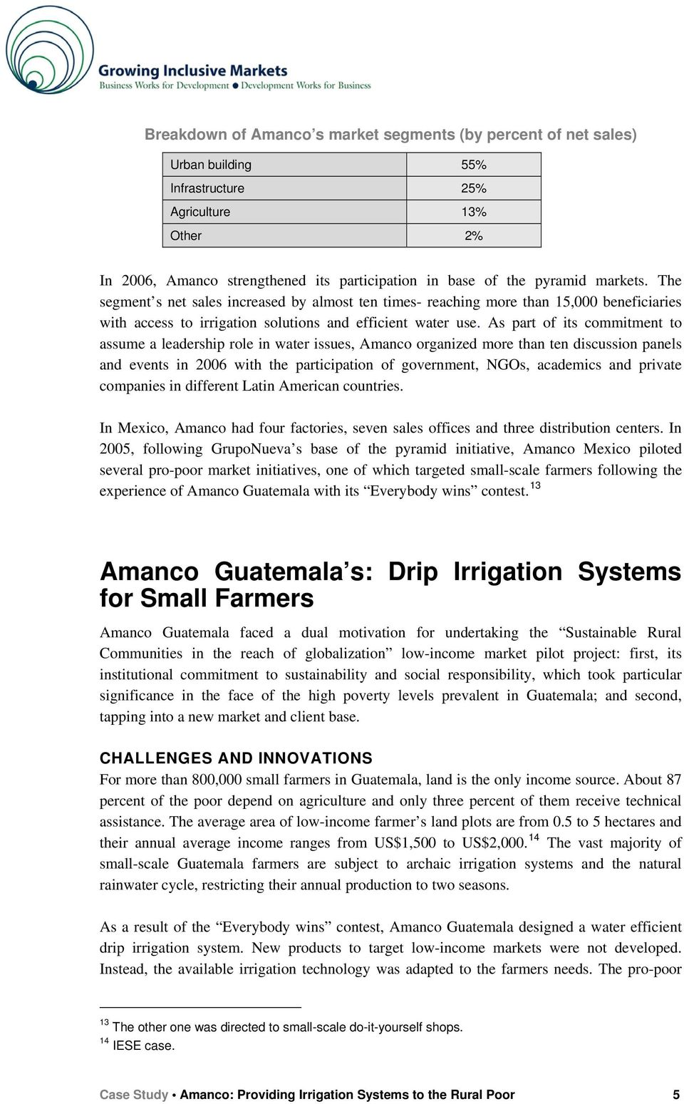 amanco case study Latin america & the caribbean • mexico / guatemala amanco: case study • amanco: amanco directed its efforts to identify organizations that involved a.