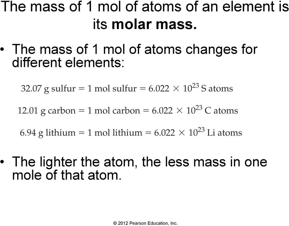 The mass of 1 mol of atoms changes for