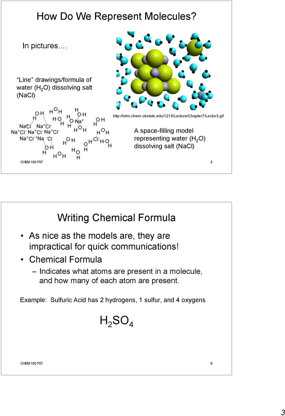 gif A space-filling model representing water (H 2 O) dissolving salt (NaCl) CHEM 100 F07 5 Writing Chemical Formula As nice as the models