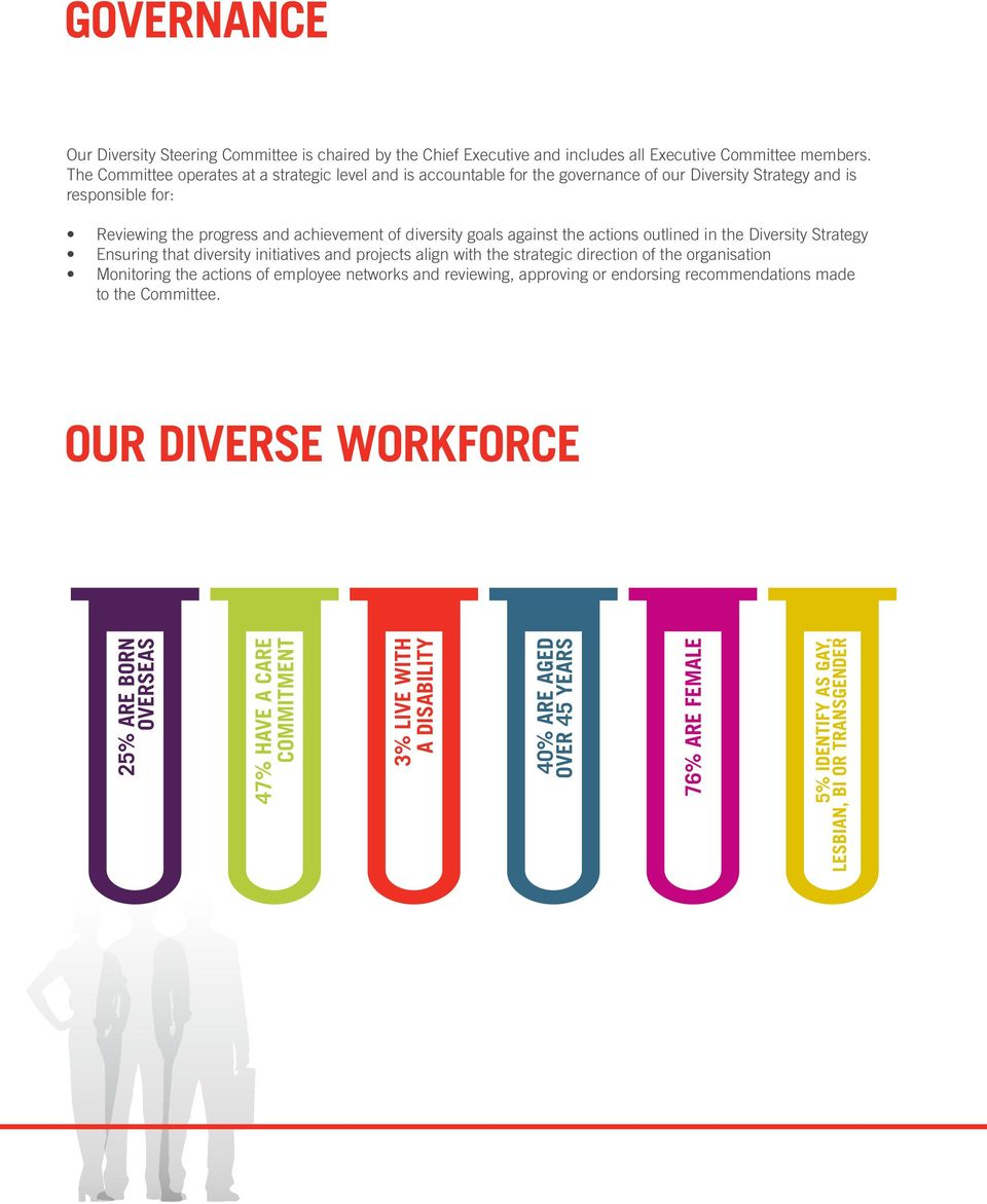 against the actions outlined in the Diversity Strategy Ensuring that diversity initiatives and projects align with the strategic direction of the organisation Monitoring the actions of employee