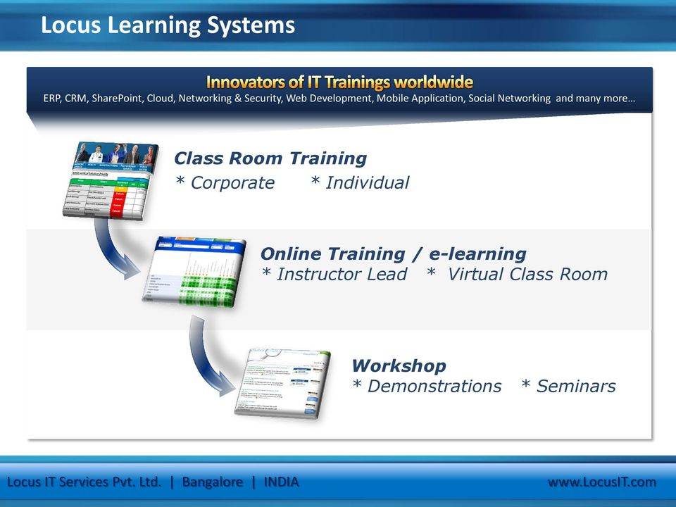 * Corporate * Individual Online Training / e-learning * Instructor Lead * Virtual