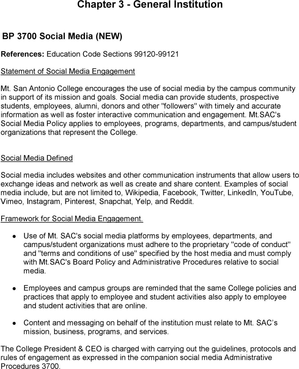 "Social media can provide students, prospective students, employees, alumni, donors and other ""followers"" with timely and accurate information as well as foster interactive communication and"