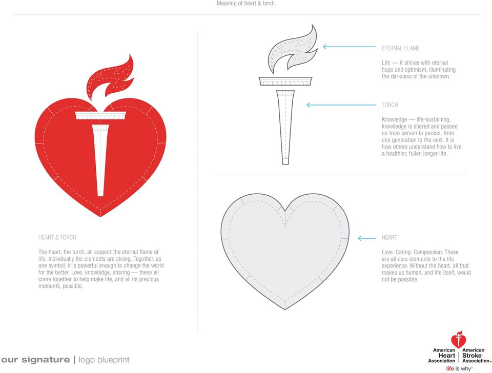 HEART & TORCH The heart, the torch, all support the eternal flame of life. Individually the elements are strong. Together, as one symbol, it is powerful enough to change the world for the better.