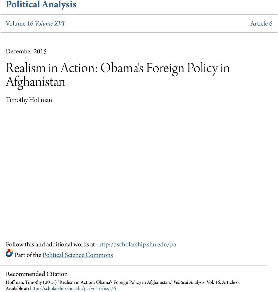 "edu/pa Part of the Political Science Commons Recommended Citation Hoffman, Timothy (2015) ""Realism in Action:"