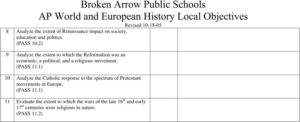 (PASS 11.1) 10 Analyze the Catholic response to the spectrum of Protestant movements in Europe. (PASS 11.