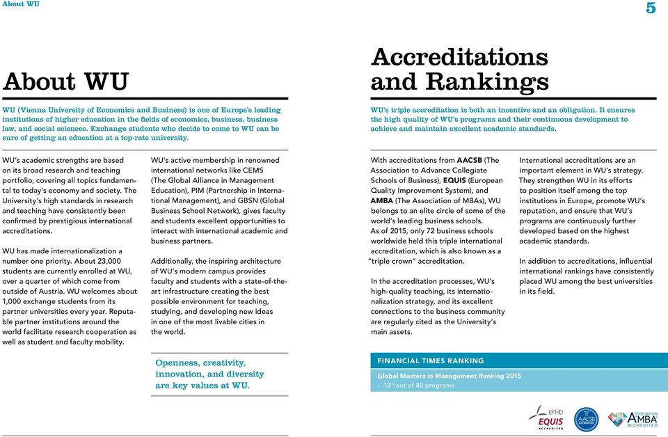 Accreditations and Rankings WU s triple accreditation is both an incentive and an obligation.