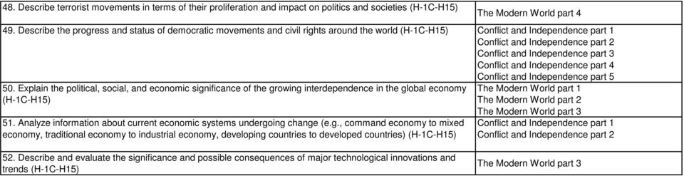 Explain the political, social, and economic significance of the growing interdependence in the global economy (H-1C-H15) 51.