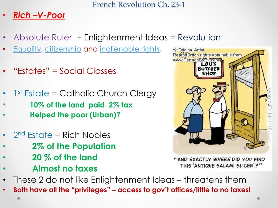 Estates = Social Classes 1 st Estate = Catholic Church Clergy 10% of the land paid 2% tax Helped the poor (Urban)?