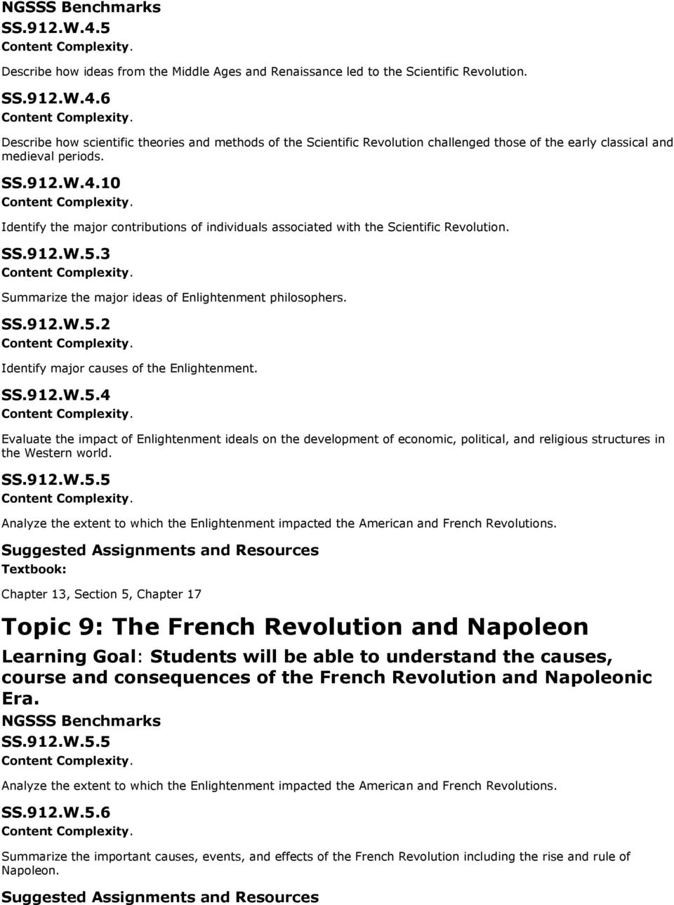 SS.912.W.5.4 Evaluate the impact of Enlightenment ideals on the development of economic, political, and religious structures in the Western world. SS.912.W.5.5 Analyze the extent to which the Enlightenment impacted the American and French Revolutions.