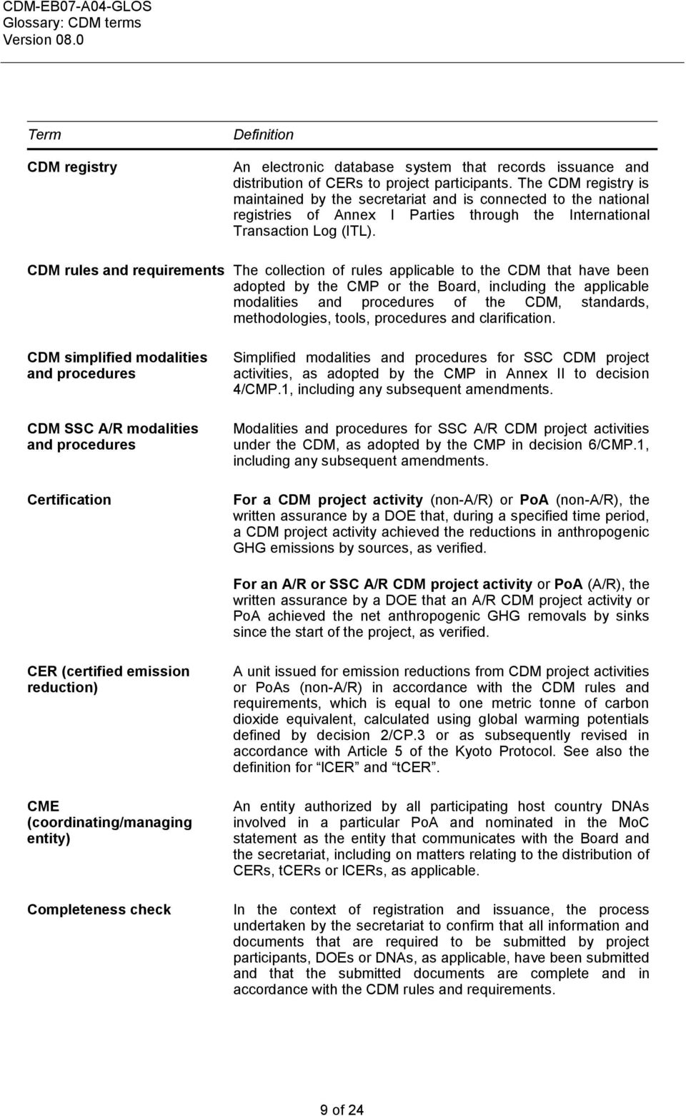 CDM rules and requirements The collection of rules applicable to the CDM that have been adopted by the CMP or the Board, including the applicable modalities and procedures of the CDM, standards,