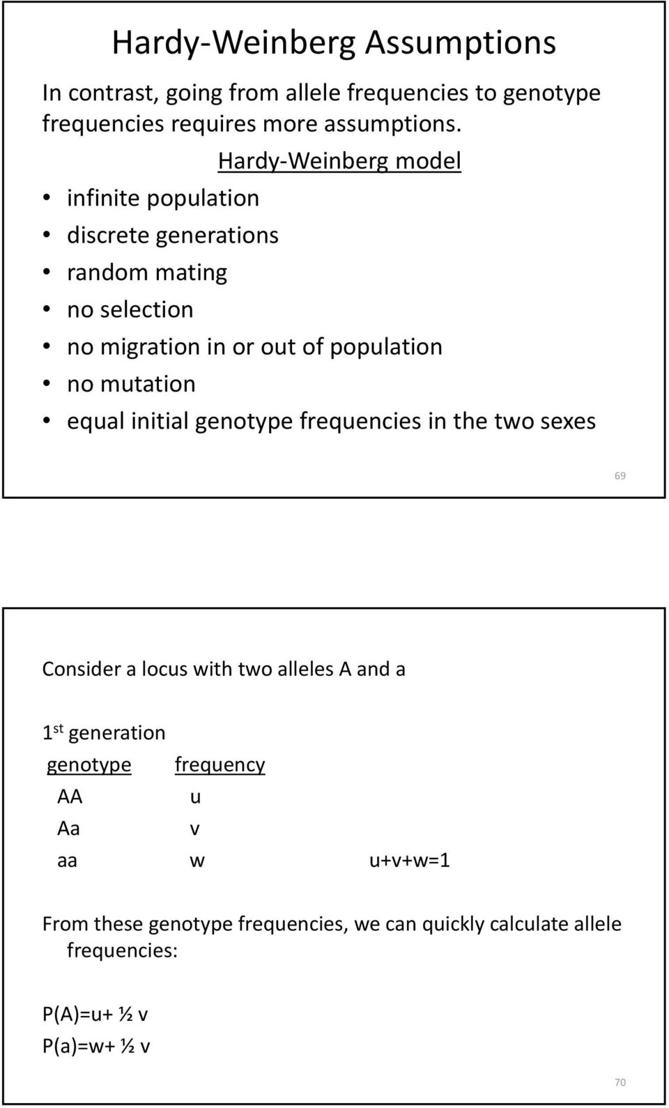 mutation equal initial genotype frequencies in the two sexes 69 Consider a locus with two alleles A and a 1 st generation