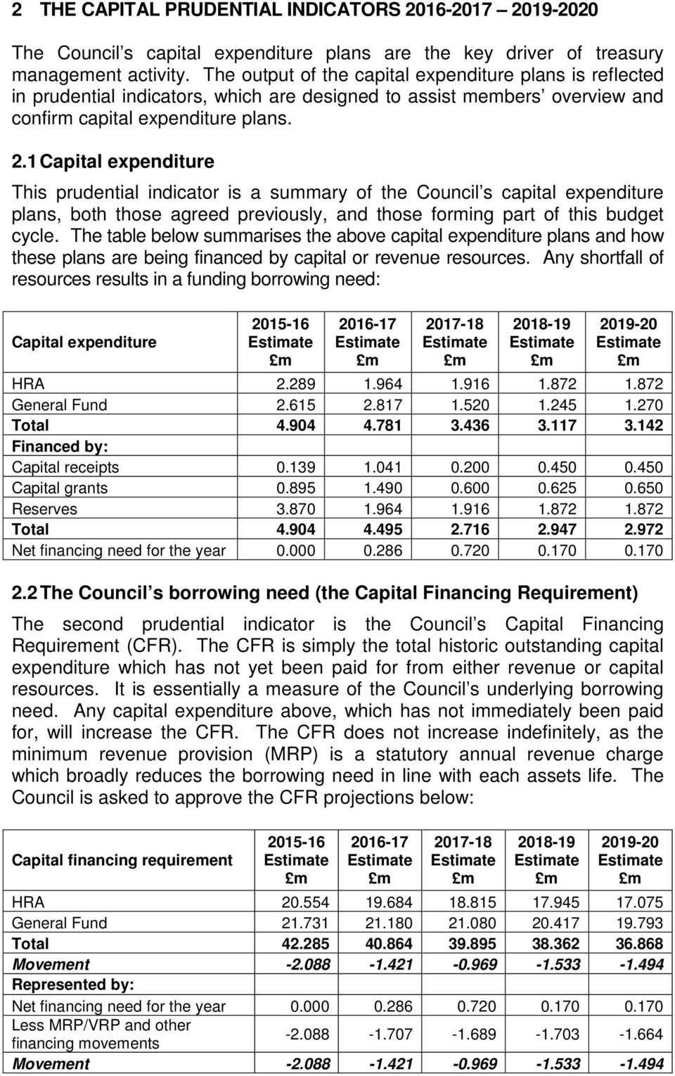 1 Capital expenditure This prudential indicator is a summary of the Council s capital expenditure plans, both those agreed previously, and those forming part of this budget cycle.