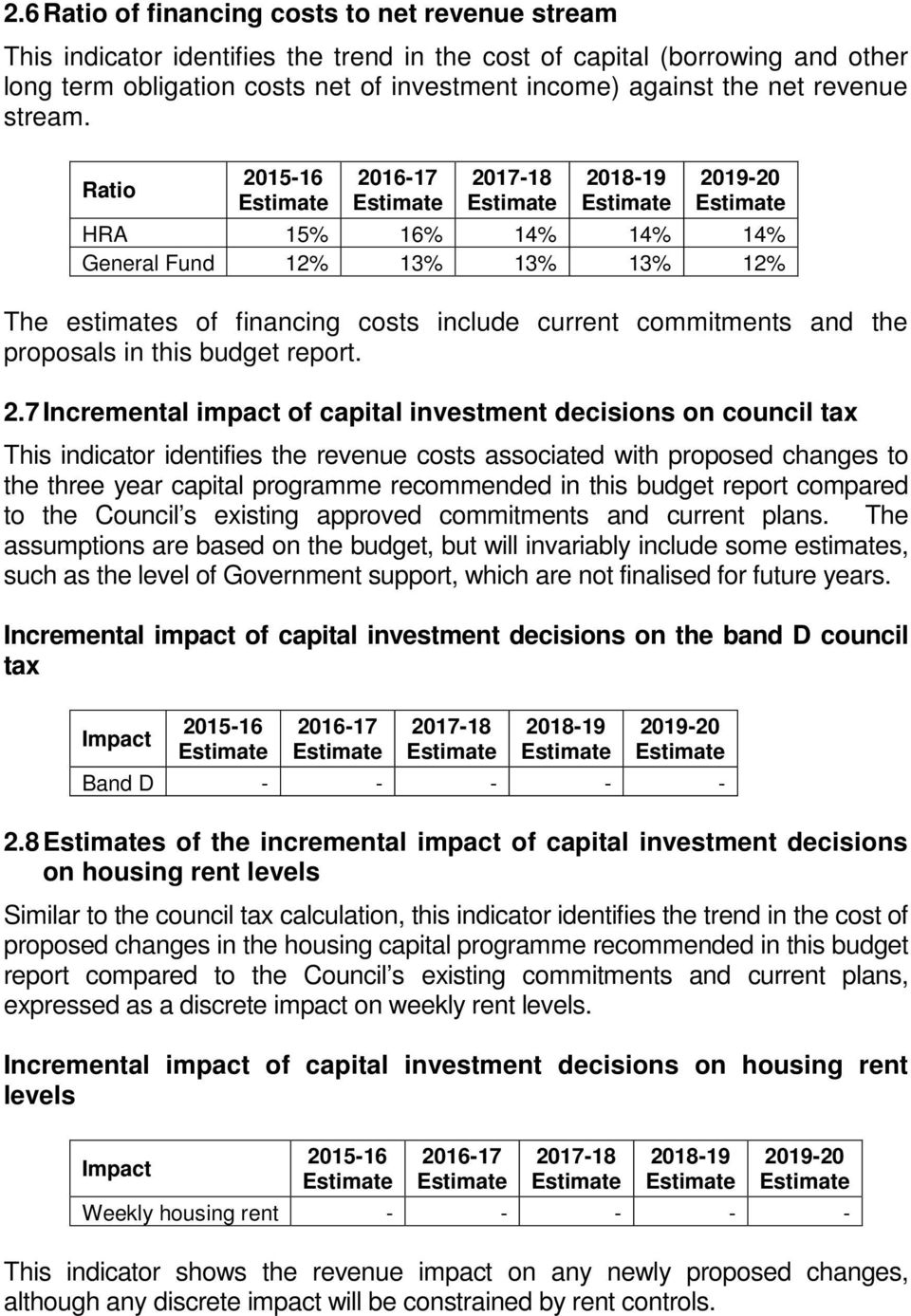 7 Incremental impact of capital investment decisions on council tax This indicator identifies the revenue costs associated with proposed changes to the three year capital programme recommended in
