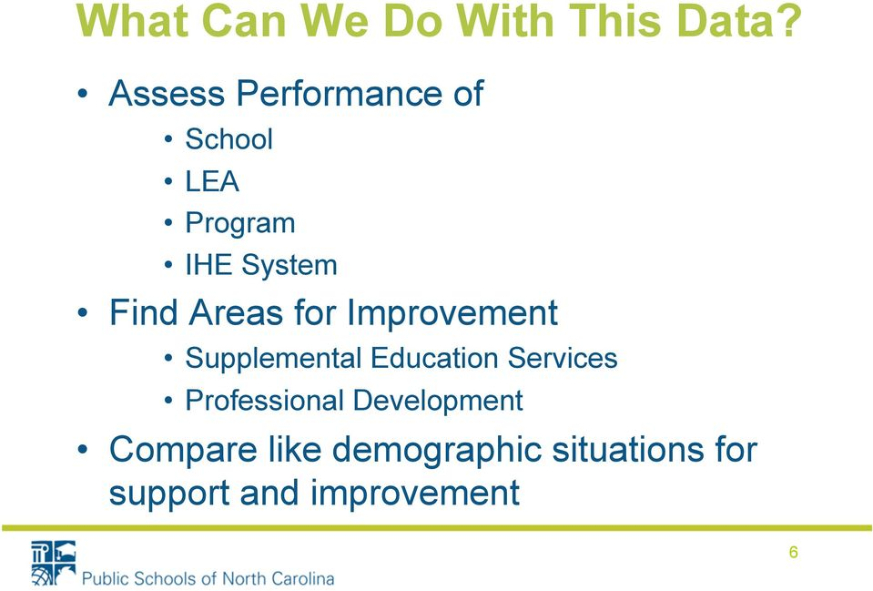 Areas for Improvement Supplemental Education Services