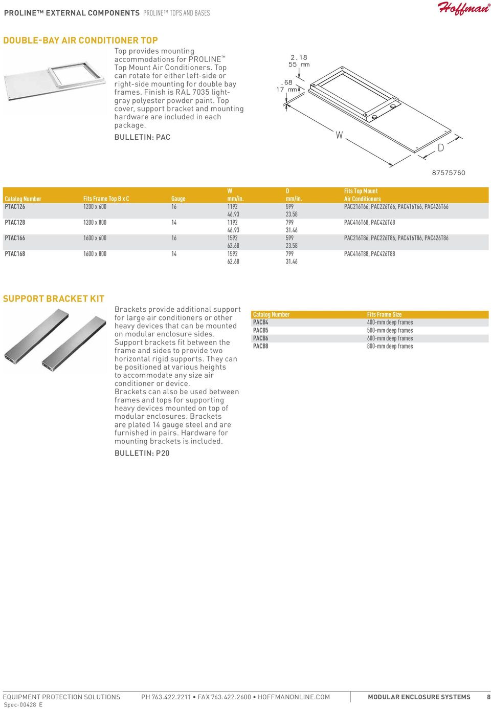 Bulletin: PAC Catalog Number Fits Frame Top B x C Gauge W PTAC126 1200 x 600 16 1192 46.93 PTAC128 1200 x 800 14 1192 46.93 PTAC166 1600 x 600 16 1592 62.68 PTAC168 1600 x 800 14 1592 62.68 D 23.