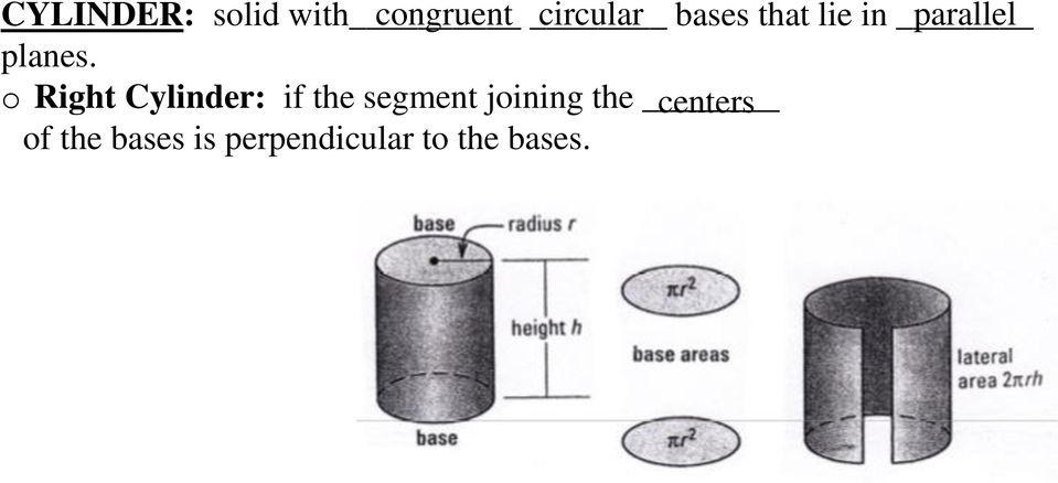 o Right Cylinder: if the segment joining