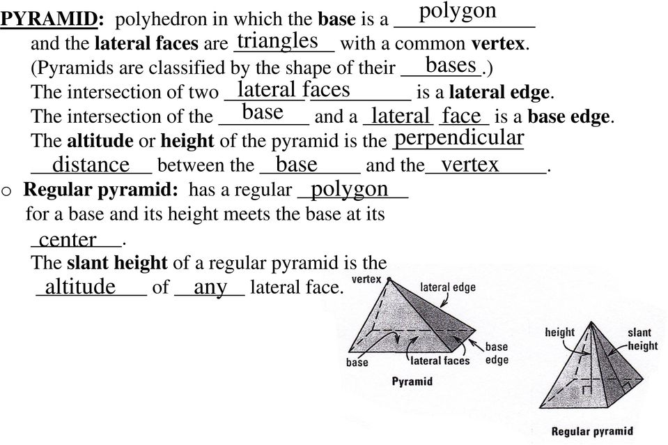 The intersection of the base and a lateral face is a base edge.