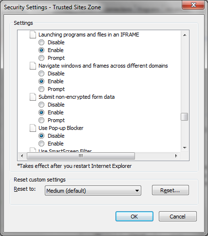 43. Click Enable for Launching programs and files in an IFRAME 44.