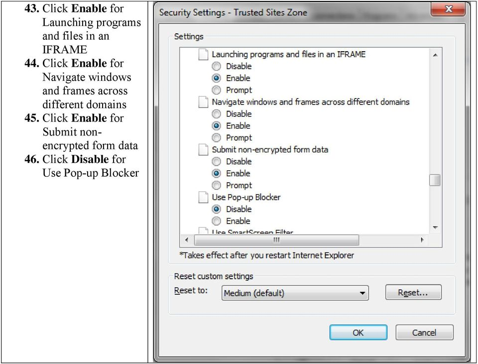 Click Enable for Navigate windows and frames across
