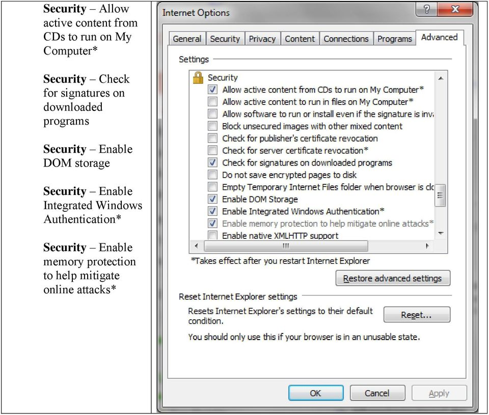 Enable DOM storage Security Enable Integrated Windows