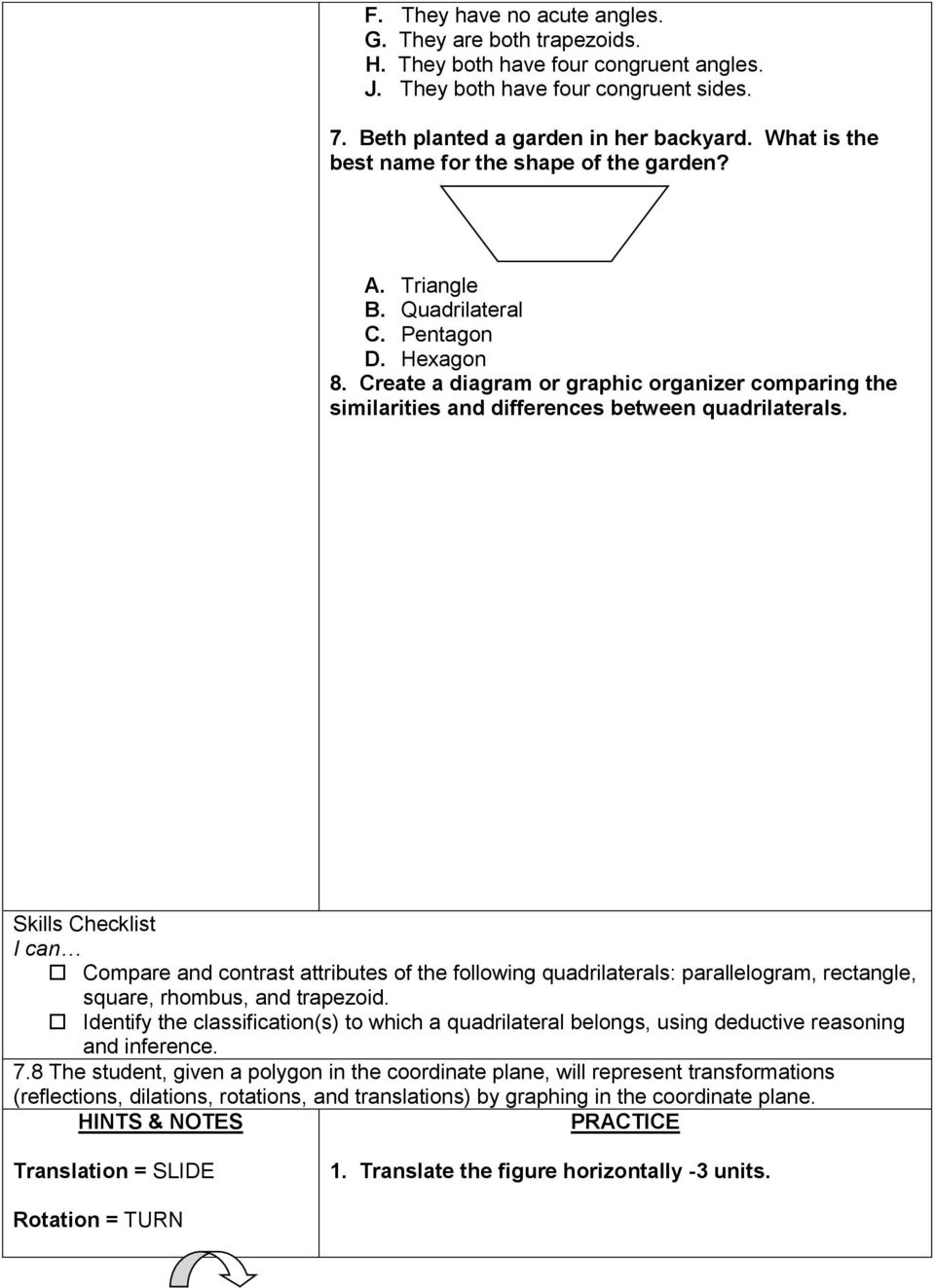 Create a diagram or graphic organizer comparing the similarities and differences between quadrilaterals.