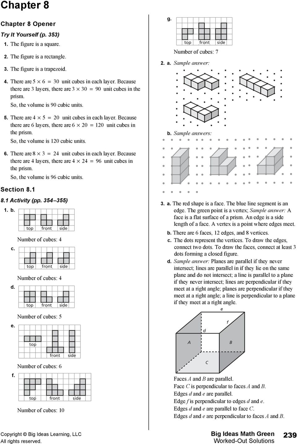 Because there are 6 layers, there are 6 0 0 unit cubes in the prism. So, the volume is 0 cubic units. b. Sample answers: 6. There are 8 4 unit cubes in each layer.