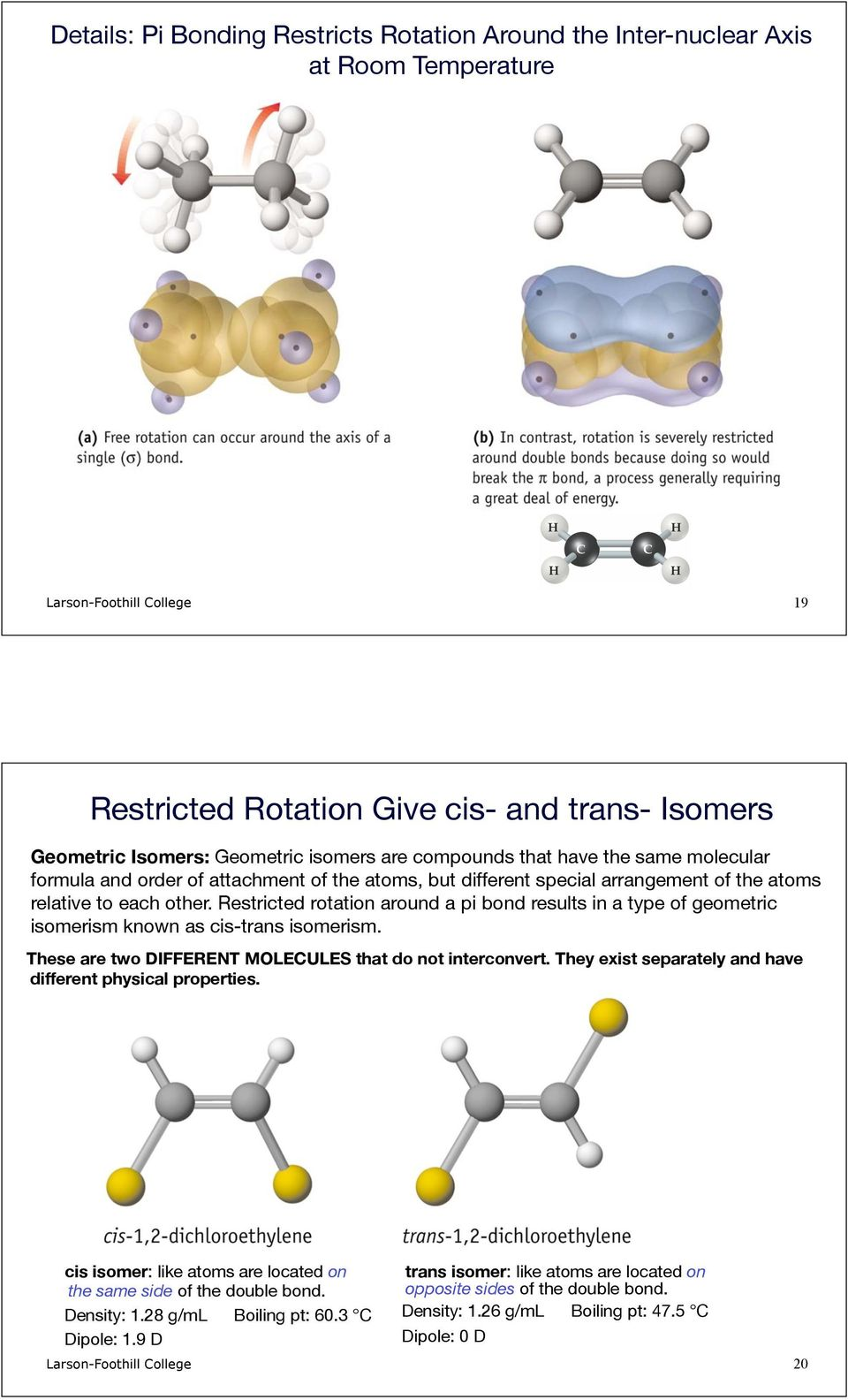 Restricted rotation around a pi bond results in a type of geometric isomerism known as cis-trans isomerism. These are two DIFFERENT MOLECULES that do not interconvert.