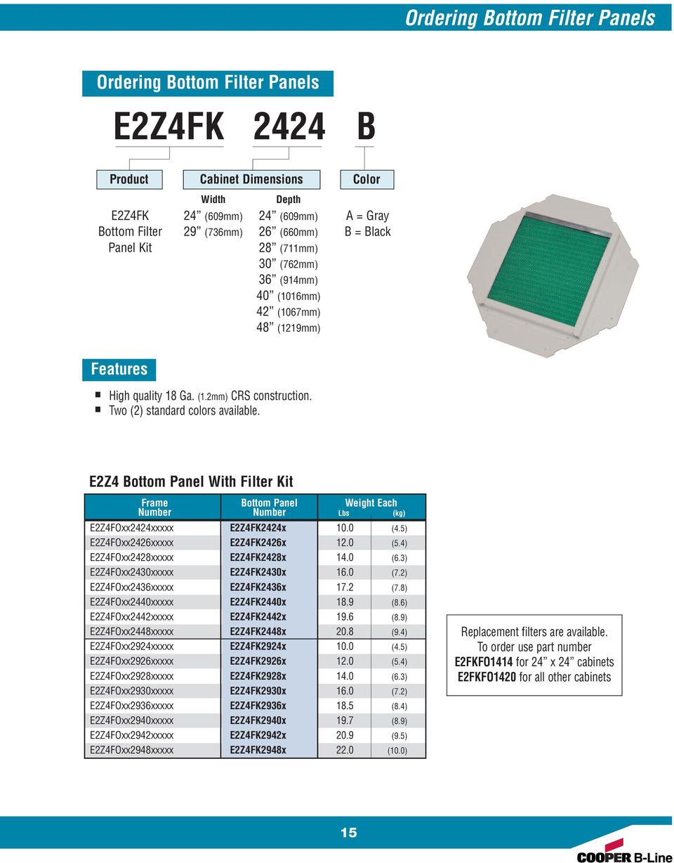 E2Z4 Bottom Panel With Filter Kit Frame Bottom Panel Weight Each Number Number Lbs (kg) E2Z4FOxx2424xxxxx E2Z4FK2424x 10.0 (4.5) E2Z4FOxx2426xxxxx E2Z4FK2426x 12.0 (5.