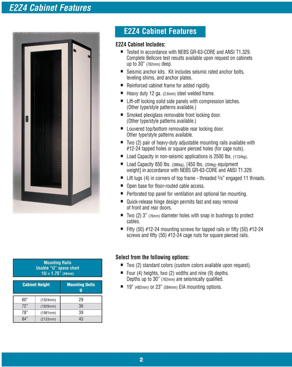 Reinforced cabinet frame for added rigidity. Heavy duty 12 ga. (2.6mm) steel welded frame. Lift-off locking solid side panels with compression latches. (Other type/style patterns available.