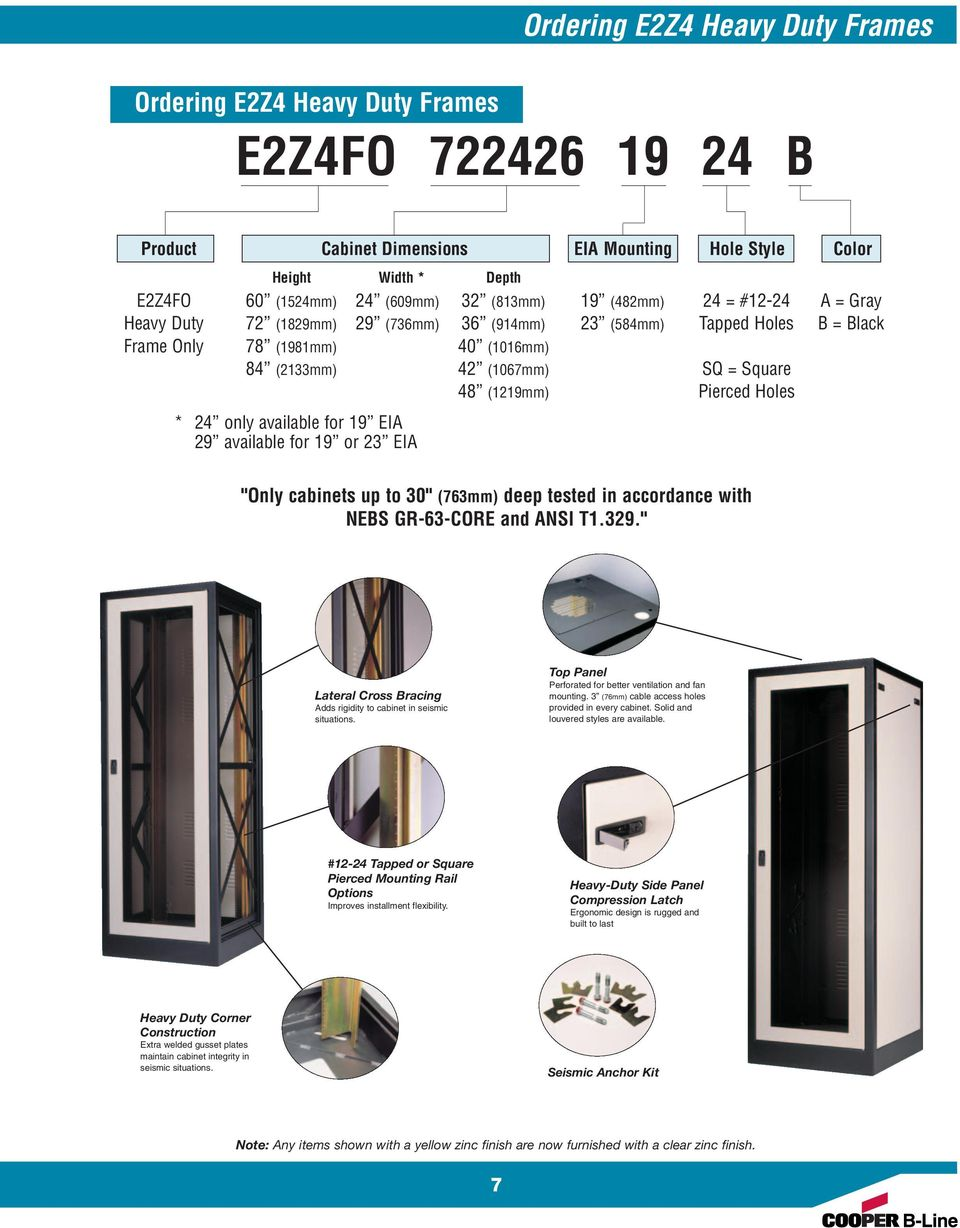 "(1219mm) Pierced Holes * 24 only available for 19 EIA 29 available for 19 or 23 EIA ""Only cabinets up to 30"" (763mm) deep tested in accordance with NEBS GR-63-CORE and ANSI T1.329."